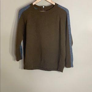 Madewell tan with gray stripe sleeve sweater